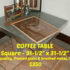 COFFEE TABLE - Square   -  Brushed metal & glass - heavy