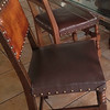 4 Solid Wood & Leather Chairs with brass grommets - $50/each or $180/4