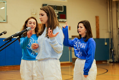 Katrina Murphy, Abbe Treacy and Lauren Underkoffler participate in an ESTEEM skit.  Photo by John Fitts