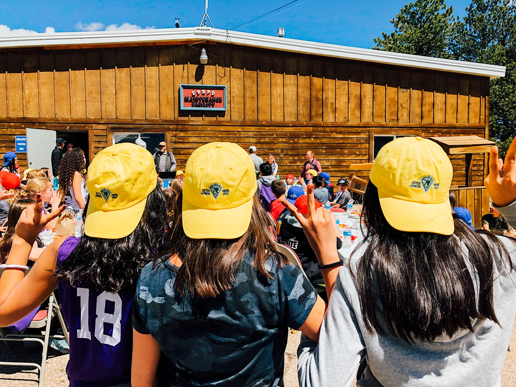 . Fifth-graders showing off their Estes Park Junior Golf caps (Trail-Gazette)
