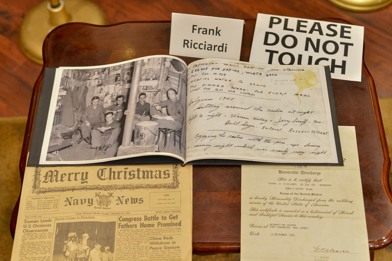 Frank Ricciardi_ Army Air Corps. Here, his diary and an early newspaper documenting the happenings of the Navy in WWII were on display during a dinner that celebrated Estes Park's WWII veterans