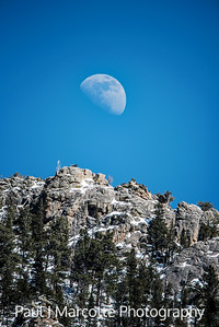 Waxing Gibbous rising over Estes Park.