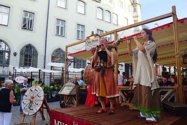 Medieval music performance at Olde Hansa in Tallinn, Estonia.