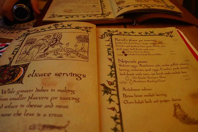 Medieval font on the menu at Olde Hansa.