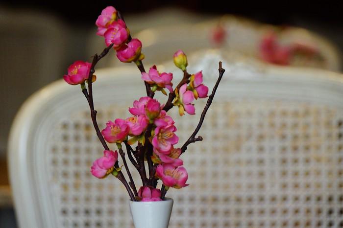 Pink floral arrangement.