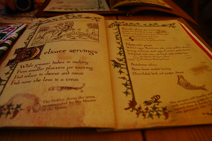 The menu at Olde Hansa, a medieval restaurant in the heart of Tallinn, Estonia.