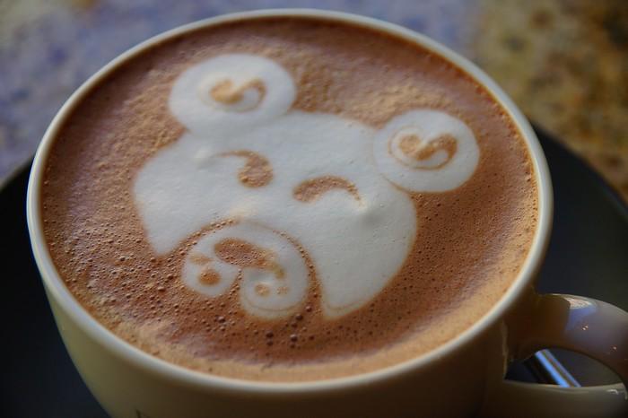 Latte foam designs in my hot chocolate at a cafe in Tallinn.