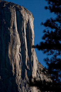 El Capitan - climber visible midway down, along the shadow line