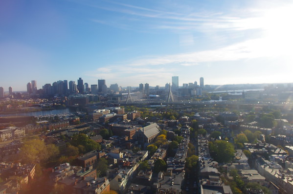 Boston through the window at Bunker Hill.
