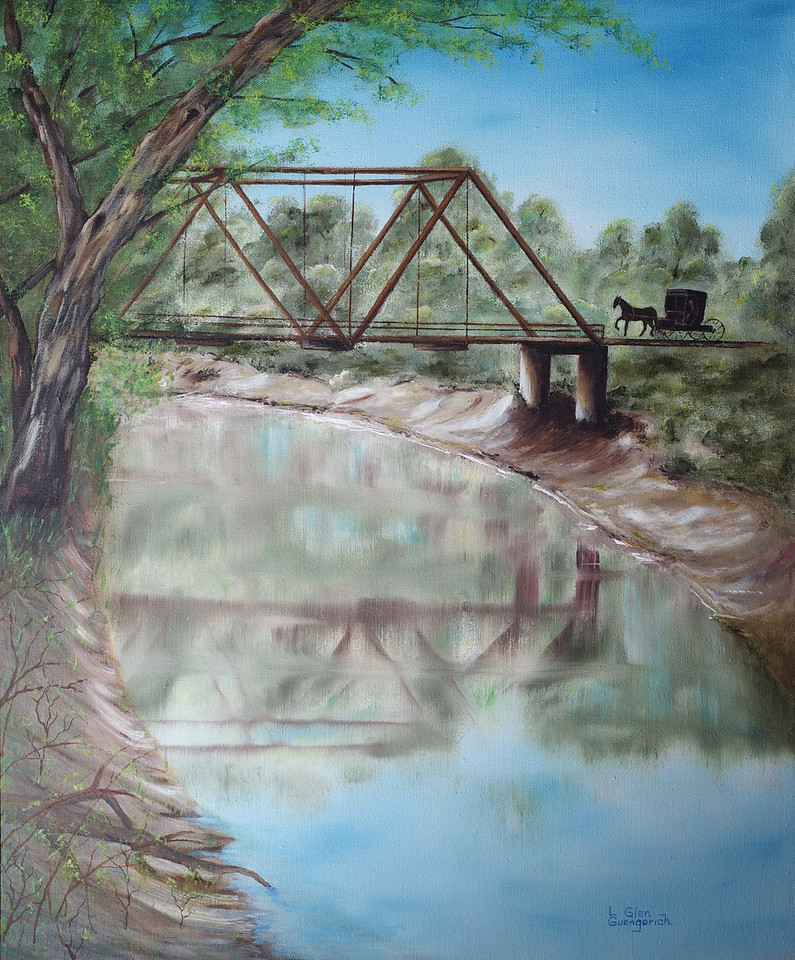 English River Bridge, by Grandpa Guengerich. Painted sometime in the 1970s.