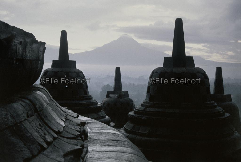 Borobudur and Mt. Merapi - Java, Indonesia