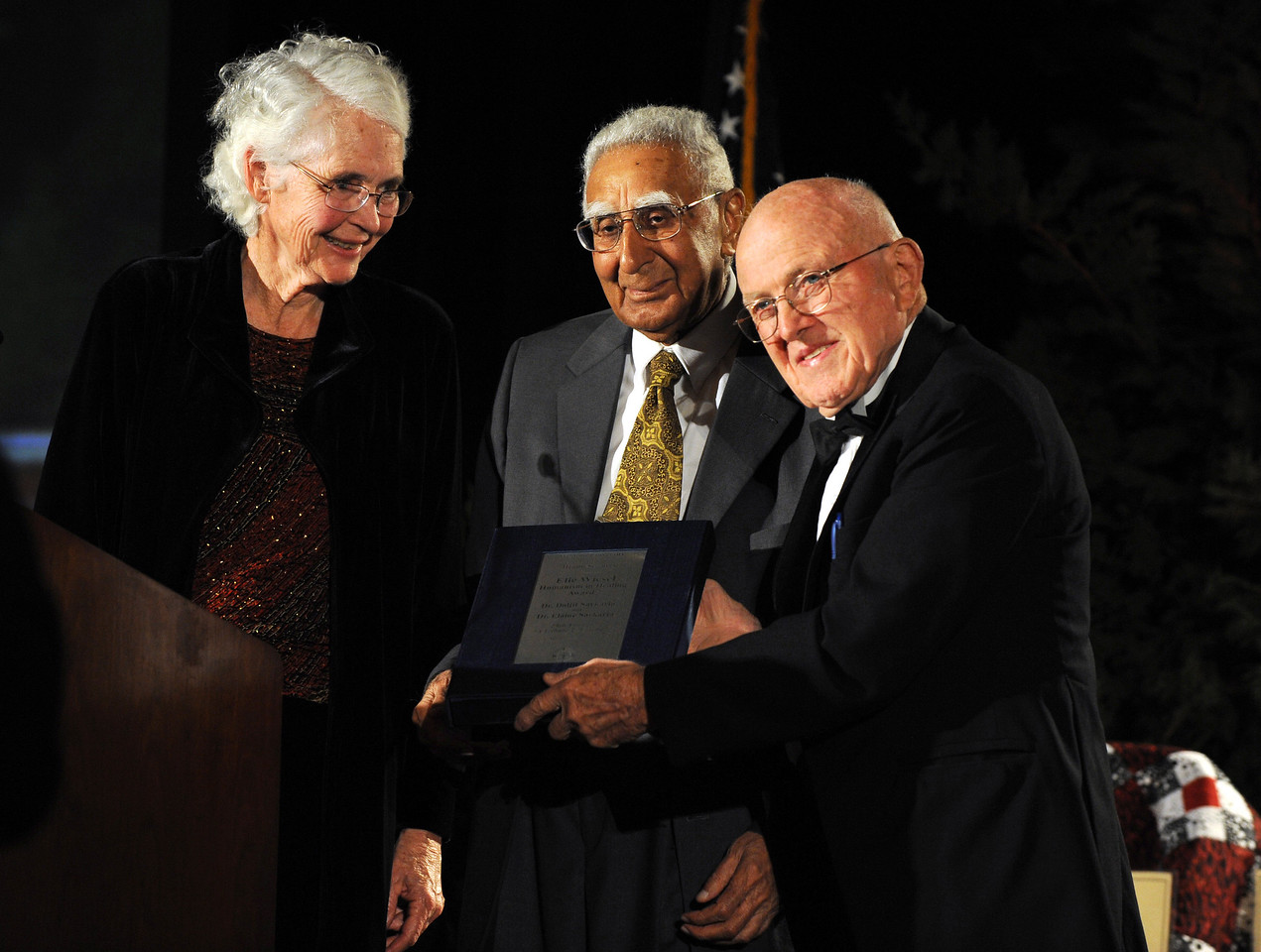 Drs. Daljit and Elaine Sarkaria, receive the Elie Wiesel Humanism in Healing award presented by WesternU Board of Trustee Dr. Ethan Allen during the 29th A Tribute to Caring gala at Disney's Grand Californian Hotel & Spa in Anaheim Saturday Nov. 14, 2009. (Jeff Malet, WesternU)