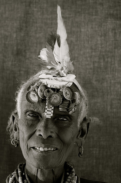 Dassanech tribeswoman with fancy head gear