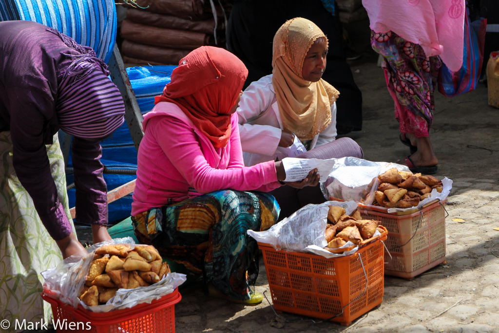 Selling samosas at Addis Mercato