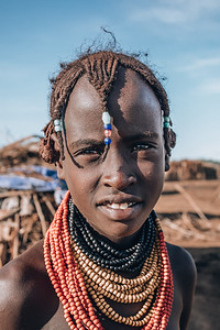 Teenager from the African tribe Dasanesh, Omorate, Omo Valley, Ethiopia