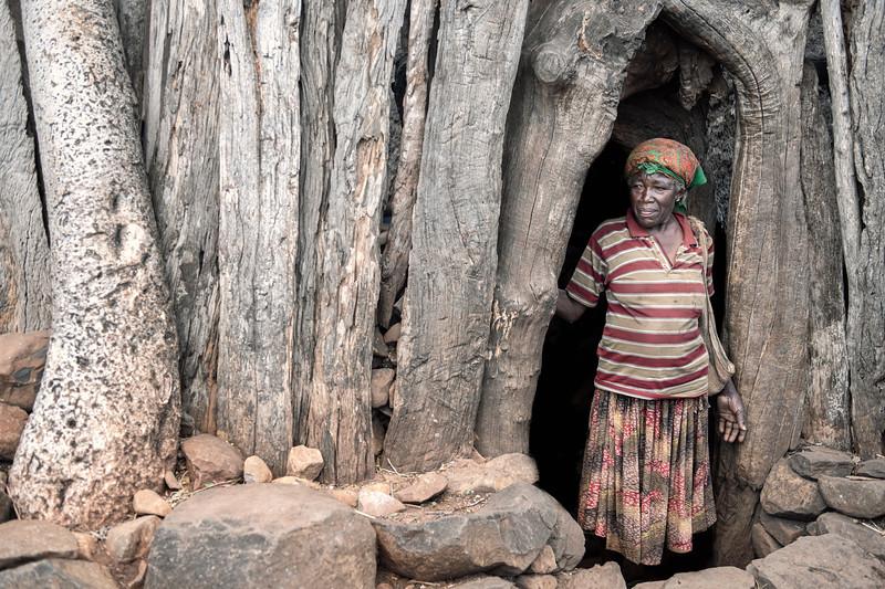 Konso woman in her doorway.