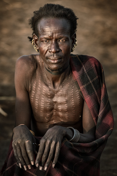Dassenech tribesman with scarification.