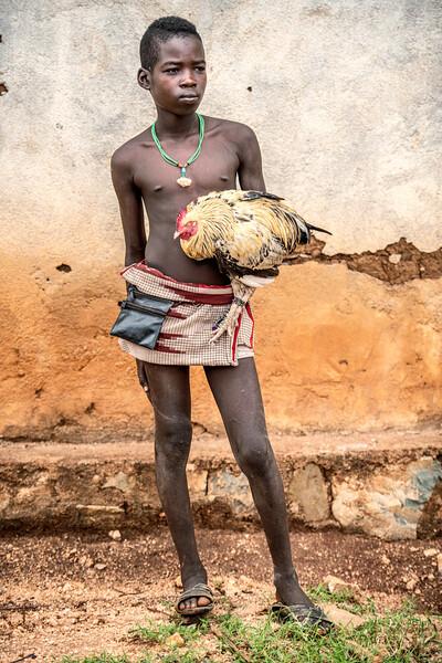 Banna boy with chicken