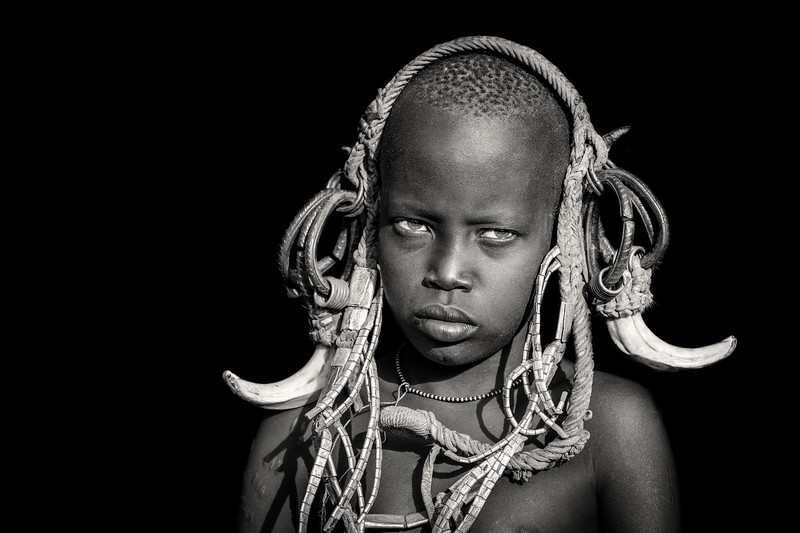 Young Mursi  tribes boy