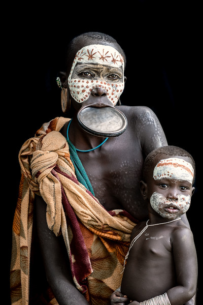 Lip plated mother and child