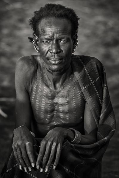 Dassenech tribesman with scarification. Omorate