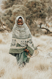 Ethiopian shepherdess girl, Simien Mountains, Ethiopia