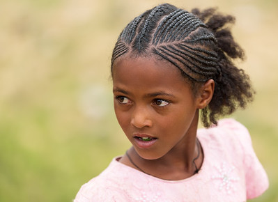 girl with traditional braided hair styl, Ethiopia