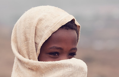 Beautiful Ethiopian girl hiding her face