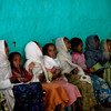 Children singing in a church next to Debre Birhan Selassie