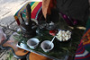 """coffee ceremony""<br /> coffee, sugar, frankincense (in the red incense burner)<br /> popcorn, greenery for decoration."