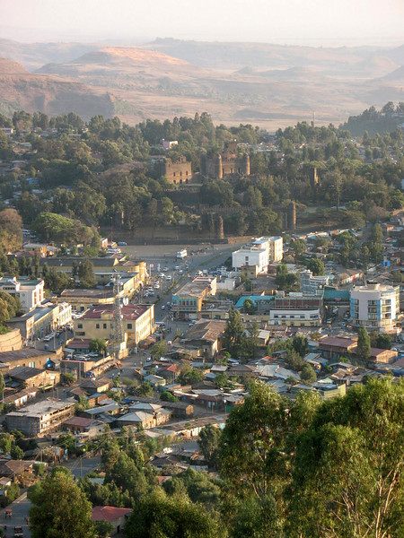 114: zoom view of Gondar from Goha Hotel terrace showing 17th century castles