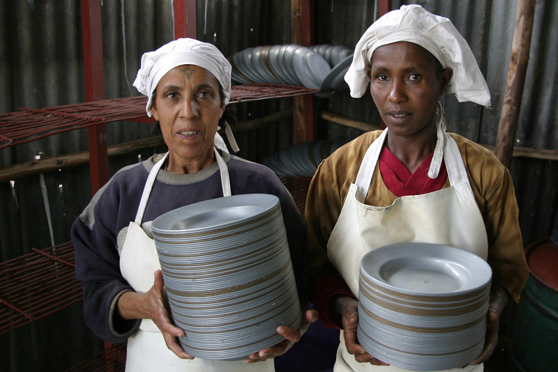 Members of the Jewish Community in Chichila, Gondar working as Dishwashers in the Beta Israel School on the NACOEJ compound in Northern Ethiopia