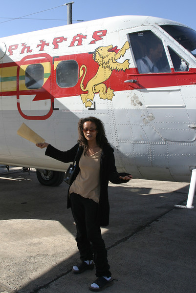 Bethleham Ashagre who worked in the Beta Israel Compounds in Addis Ababa and Gondar arrives in Gondar on Ethiopian Airlines Twin Otter