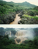Blue Nile flowing out of Lake Tana south of the Blue Nile Falls (top), Blue Nile falls in the rainy season (bottom)