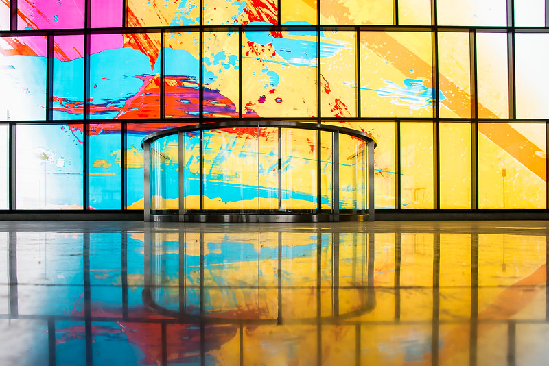 Lots of colourful glass provides an ever changing inner environment