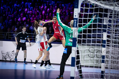 Kinga Grzyb (11) and Sandra Toft (1) - Women's EHF EURO 2018, preliminary round game -  Group A - Poland - Denmark in Hall XXL Nantes, Nantes, France 02.12.2018. Mandatory Credit © Anze Malovrh / kolektiff