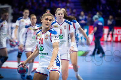 Aleksandra Vukajlovic (24) and Dijana Stevin (8) - Women's EHF EURO 2018, preliminary round game -  Group A - Sweden - Serbia in Hall XXL Nantes, Nantes, France 02.12.2018. Mandatory Credit © Anze Malovrh / kolektiff