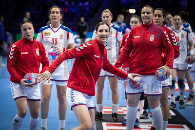 Marina Dmitrovic (99) and Dragana Cvijic (72) - Women's EHF EURO 2018, preliminary round game -  Group A - Sweden - Serbia in Hall XXL Nantes, Nantes, France 02.12.2018. Mandatory Credit © Anze Malovrh / kolektiff