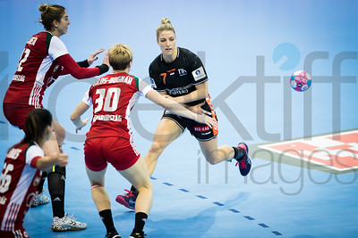 Barbara Palos-Bognar (30) and Debbie Bont (7) - Women's EHF EURO 2018, preliminary round game - Group C - Hungary - Netherlands in L'Axone, Montbeliard, France, 01.12.2018. Mandatory Credit ©  Uros Hocevar / kolektiff