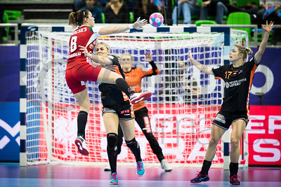 Aniko Kovacsics (8) and Nycke Groot (17) - Women's EHF EURO 2018, preliminary round game - Group C - Hungary - Netherlands in L'Axone, Montbeliard, France, 01.12.2018. Mandatory Credit ©  Uros Hocevar / kolektiff