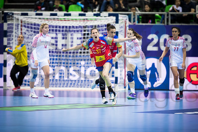 Larissa Kalaus (14), Ana Isabel Martinez (37) and Valentina Blazevic (77) - Women's EHF EURO 2018, preliminary round game - Group C - Spain - Croatia in L'Axone, Montbeliard, France, 01.12.2018. Mandatory Credit ©  Uros Hocevar / kolektiff / kolektiff