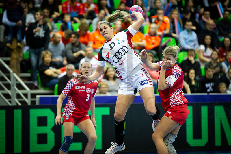 Paula Posavec (3) and Anna Kovacs (33) - Women's EHF EURO 2018, preliminary round game - Group C - Croatia - Hungary in L'Axone, Montbeliard, France, 03.12.2018. Mandatory Credit ©  Jure Erzen / kolektiff