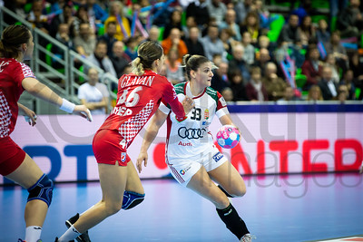Marina Glavan (46) and Anna Kovacs (33) - Women's EHF EURO 2018, preliminary round game - Group C - Croatia - Hungary in L'Axone, Montbeliard, France, 03.12.2018. Mandatory Credit ©  Jure Erzen / kolektiff