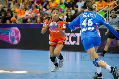 Delaila Amega (14) and Marina Glavan (46) - Women's EHF EURO 2018, preliminary round game - Group C - Netherlands - Croatia in L'Axone, Montbeliard, France, 05.12.2018. Mandatory Credit ©  Jozo Cabraja / kolektiff