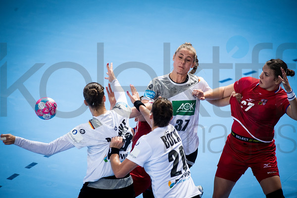 Emily Bolk (20), Alicia Stolle (37) and Petra Adamkova (27) - Women's EHF EURO 2018, preliminary round game - Group D - Germany - Czech Republic in Brest Arena, Brest, France, 05.12.2018. Mandatory Credit ©  Nebojsa Tejic / kolektiff