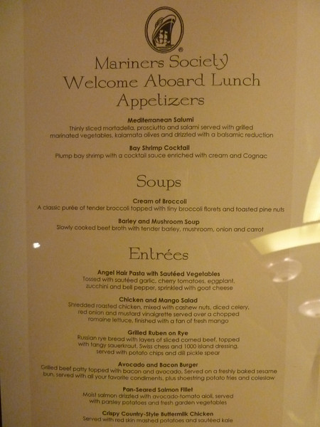 MDR embarkation lunch menu, day 1