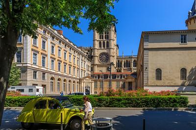 Eine Ente und der Turm der Cathédrale Saint-Jean-Baptiste, Lyon