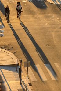 Radfahrer im Gegenlicht, Lyon