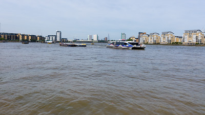 River Bus Meteor Clipper arriving at Greenwich Pier, London