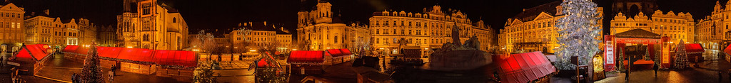 Panorama of Pragues market place in an advental night.